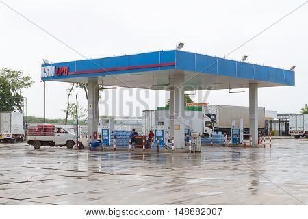 BANGKOK THAILAND SEP 2016 : Liquefied petroleum gas (LPG) Local pump station on 24 September 2015 in Bangkok Thailand