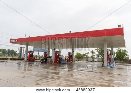 BANGKOK,THAILAND - SEP 24: Caltex gas station on 24 September 2016 in Sukhothai province, Thailand. Ready to service 24 hours.