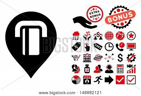 ATM Map Marker icon with bonus pictograph collection. Glyph illustration style is flat iconic bicolor symbols, intensive red and black colors, white background.