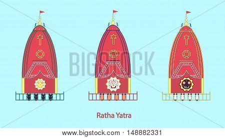Ratha Yatra Festival. Indian holiday. chariot festival. vector illustration.