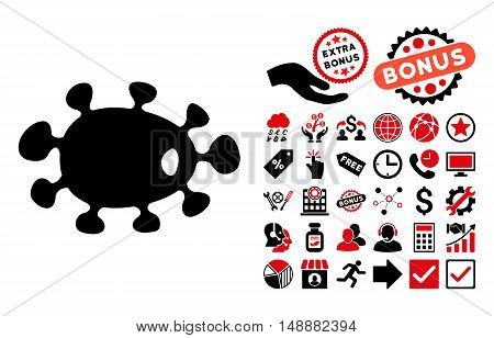 Bacteria pictograph with bonus icon set. Glyph illustration style is flat iconic bicolor symbols, intensive red and black colors, white background.