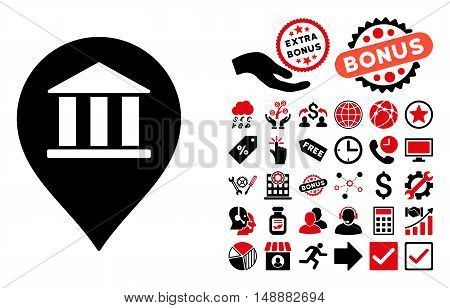 Bank Building Pointer icon with bonus icon set. Glyph illustration style is flat iconic bicolor symbols, intensive red and black colors, white background.