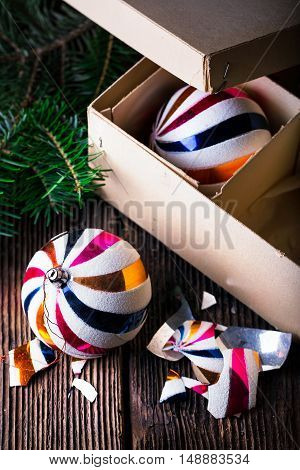 Broken Old Vintage Christmas Balls With Carton Box.