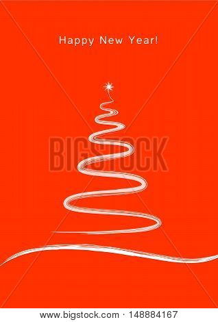 Happy New Year. New Year and Christmas in the style of Zen. Red background