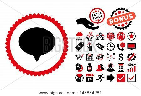 Banner icon with bonus pictures. Glyph illustration style is flat iconic bicolor symbols, intensive red and black colors, white background.