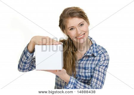 Young Woman Holding Blank Box