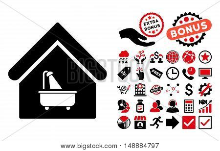 Bathroom icon with bonus images. Glyph illustration style is flat iconic bicolor symbols, intensive red and black colors, white background.