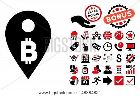 Bitcoin Map Marker pictograph with bonus pictograph collection. Glyph illustration style is flat iconic bicolor symbols, intensive red and black colors, white background.