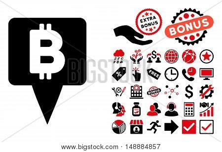 Bitcoin Map Pointer icon with bonus design elements. Glyph illustration style is flat iconic bicolor symbols, intensive red and black colors, white background.