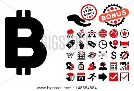Bitcoin pictograph with bonus clip art. Glyph illustration style is flat iconic bicolor symbols, intensive red and black colors, white background.