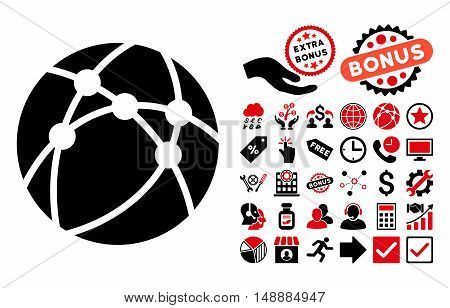 Browser icon with bonus elements. Glyph illustration style is flat iconic bicolor symbols, intensive red and black colors, white background.