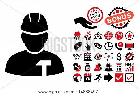 Builder Person pictograph with bonus elements. Glyph illustration style is flat iconic bicolor symbols, intensive red and black colors, white background.
