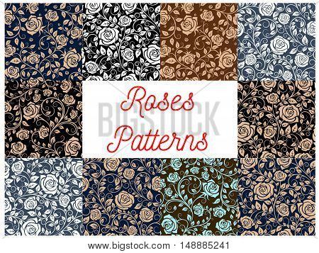 Roses seamless floral pattern backgrounds. Luxurious wallpapers with flowery rose plants ornaments