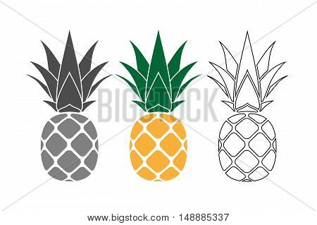 Pineapple with leaf icons set. Tropical fruits isolated on white background. Symbol of food sweet exotic summer vitamin healthy. Nature logo. Flat concept. Design element Vector illustration