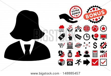 Business Lady icon with bonus elements. Glyph illustration style is flat iconic bicolor symbols, intensive red and black colors, white background.