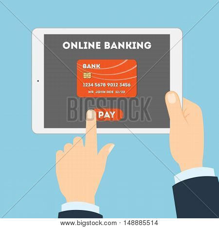 Online banking with tablet. Hands holding white tablet. Online banking with credit or debit card. E-commerce.