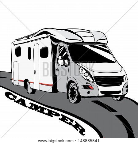 Hand drawn Doodle cars Recreational Vehicles Camper Vans Caravans Icons. Vector illustration.Silhouette graphic for design. Motorhome on white background