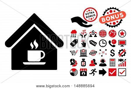 Cafe House icon with bonus design elements. Glyph illustration style is flat iconic bicolor symbols, intensive red and black colors, white background.