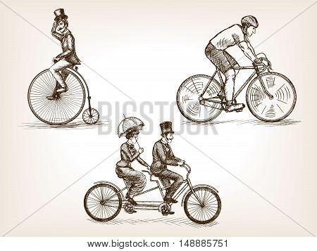 Vintage bicycle transport sketch style vector illustration. Transport set. Old engraving imitation.