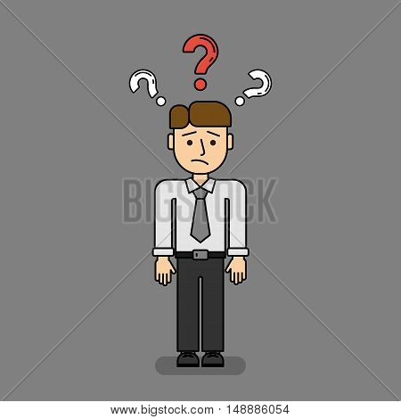 Isolated confused businessman on grey background. Funny cartoon thinking man with question marks.