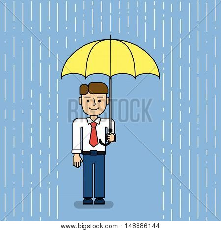 Man under umbrella. Funny cartoon businessman stands under umbrella when it rains. Concept of security, protection and coverage.