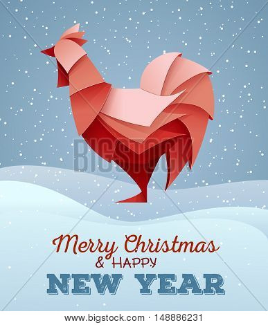3D Origami Silhouette Of Cock Or Chicken. Happy New Year Card 2017