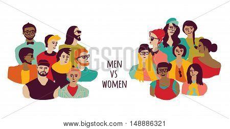 Opposition men and women groups isolate on white. Color vector illustration. EPS8