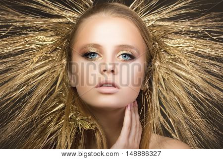 Portrait Of Young Beautiful Blonde Girl With Golden Ears Wreath