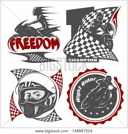 Motorcycle racers emblems. Vector set in the monochrome style on white background.