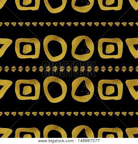 Abstract seamless pattern. Black and gold grunge background with simple geometric shapes. Digital paper.