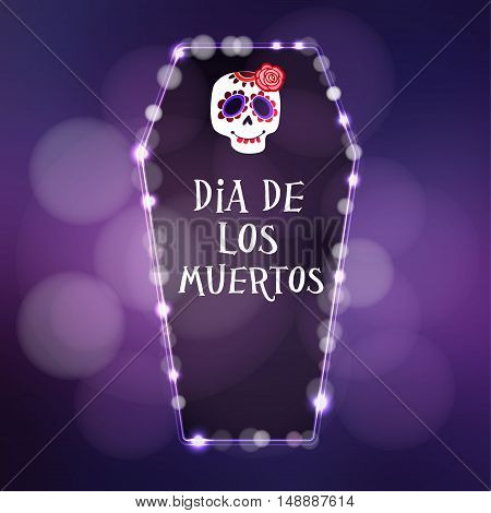Dia de Los Muertos (Day of the Dead)or Halloween card invitation. Illuminated coffin hand drawn skull. Vector illustration background