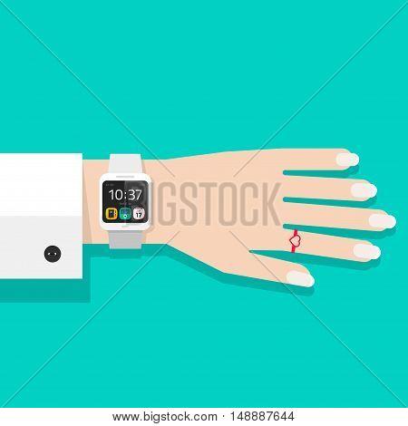 Woman hand with smart watch vector illustration, white digital hand clock on business woman wrist, flat cartoon modern smart wristwatch on female hand