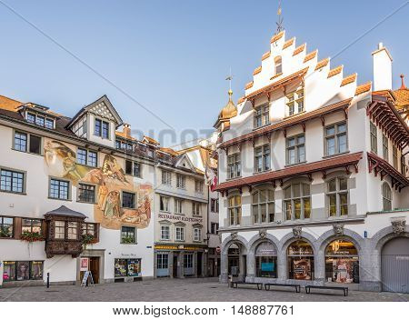 ST.GALLEN,SWITZERLAND - AUGUST 26,2016 - Decorated Houses in the streets of St.Gallen. St.Gallen is situated in the northeastern part of Switzerland.