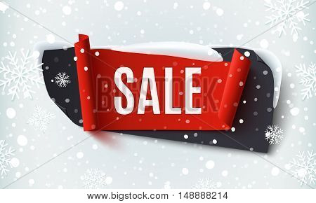 Black Friday Sale, abstract banner on winter background with snow and snowflakes. Brochure, poster or flyer template. Vector illustration.