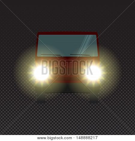 Red car at night with headlights, front view. Vector vehicle driving on evening road with lights. Car headlights at night.