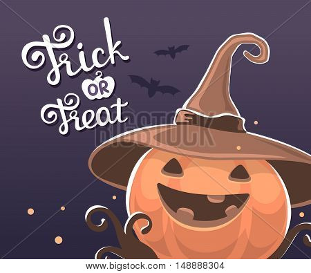 Vector Halloween Illustration Of Decorative Orange Pumpkin In Witch Hat With Eyes, Smile, Teeth, Bat