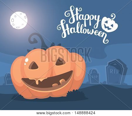 Vector Halloween Illustration Of Decorative Orange Pumpkin With Eyes, Smile, Full Moon, Headstone At