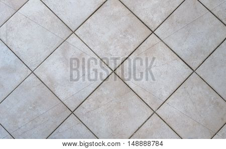 Interior bathroom tiles tiles. Image of interior flooring with grey beige pavement slabs.