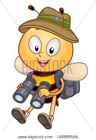 Animal Mascot Illustration Featuring a Honeybee Wearing a Safari Hat Using a Pair of Binoculars