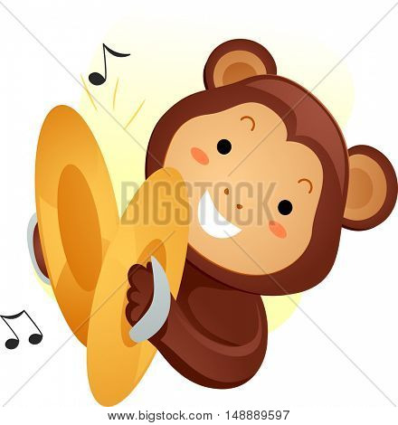 Animal Mascot Illustration Featuring a Cute Monkey Playing with Cymbals