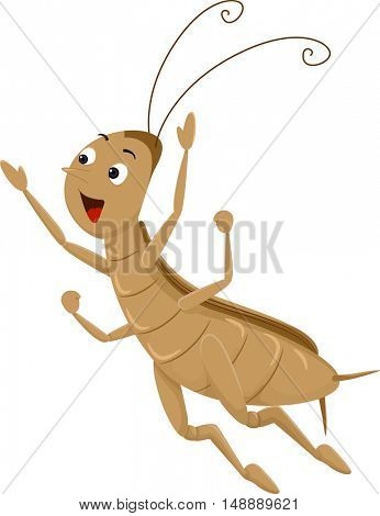 Animal Mascot Illustration Featuring an Energetic Cricket Performing a Long Jump