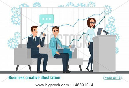 Business Professional Work. Meeting Discussing Business People. Open Space Presentation Hall Podium