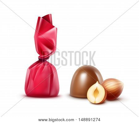 Vector Set of Realistic Milk Chocolate Candies with Hazelnuts in Dark Pink Glossy Foil Wrapper Close up Isolated on White Background