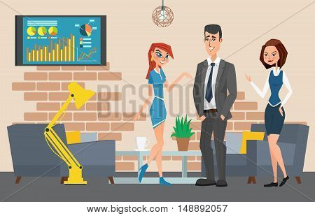 Business Professional Work. Businesspeople Or Office Workers In Interior Building, Characters, Actio