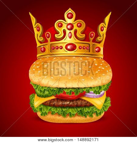 Big tasty royal hamburger with golden crown. Best hamburger concept. Realistic vector illustration. Isolated on red background.