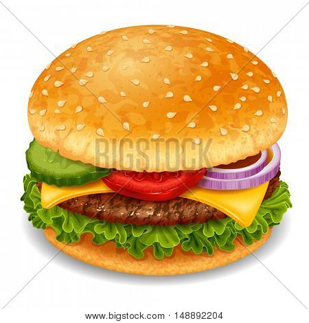 Big tasty hamburger with meat, cheese, lettuce and vegetables. Realistic vector illustration. Isolated on white background.