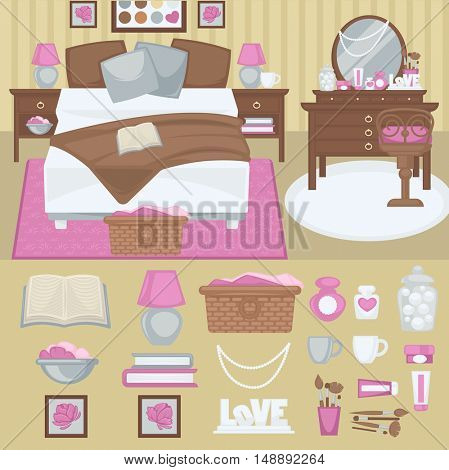 Woman bedroom interior with furniture. Room with bed and boudoir, table and mirror, chair and lamp. Pink girl design. Flat style. Vector illustration