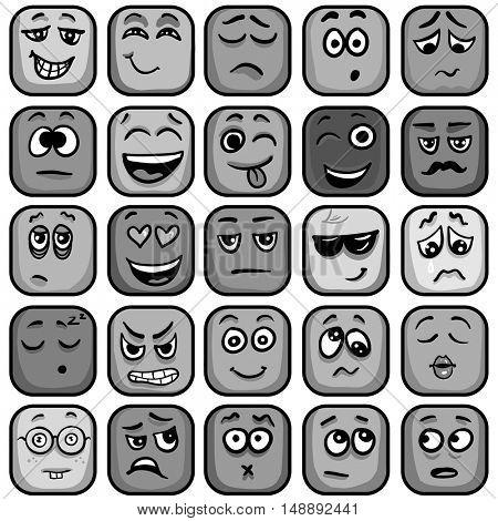 Set of colorful emoticons, square emoji flat. Vector Illustration.