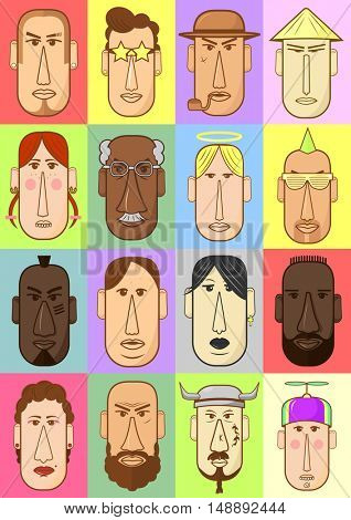 Set of person characters. Cartoon style people icons. Collection of illustration with different nationality faces. Hand drawn vector drawing of avatar head.
