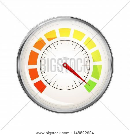 Performance measurement indicator glossy metal speedometer icon isolated on white